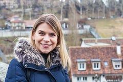 Female tourist in Bern, Switzerland Stock Photography