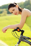 Female tourist with bicycle Stock Photo