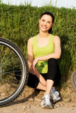Female tourist with bicycle Stock Photos