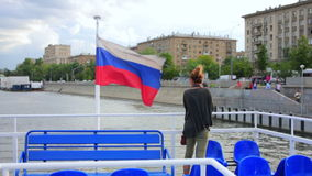 Female tourist on boat trip, moscow Stock Photos