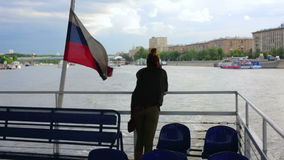 Female tourist on boat trip, moscow Stock Image