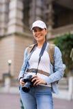 Female tourist camera Royalty Free Stock Photography