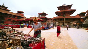 Female tourist choosing souvenir stock video footage