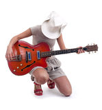 Female tourist  with electric guitar Stock Images