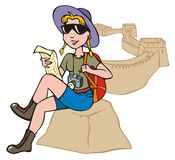 Female tourist exploring a map. Against a backdrop of Chinese Great Wall, vector illustration Royalty Free Stock Photo