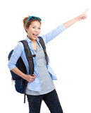 Female tourist with hand pointing up Stock Photos