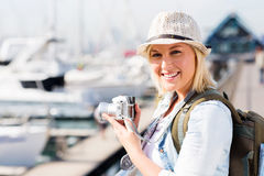 Female tourist harbour Royalty Free Stock Images