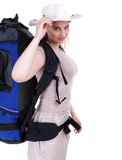 Female tourist in hat Stock Image