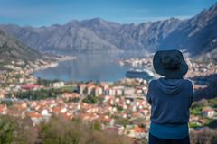 Looking at the Kotor bay from above stock image