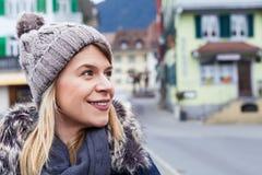Female tourist in Interlaken, Switzerland Royalty Free Stock Image