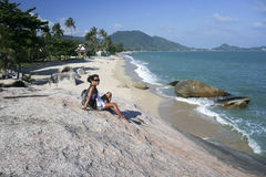Female tourist lamai beach koh samui Stock Photos