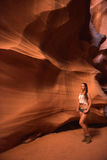 Female tourist in Lower Antelope Canyon Royalty Free Stock Images