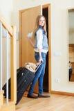 Female tourist with luggage Stock Photos