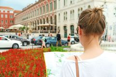 Female tourist with map. stock images