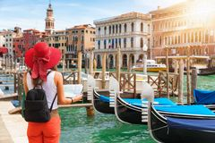 Female tourist in Venice, Italy. Female tourist with map in her hand in Venice, Italy stock photo