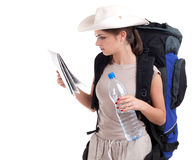 Female tourist with map and water Stock Photos