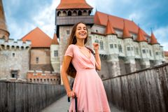 Female tourist near the Corvin castle Royalty Free Stock Photography