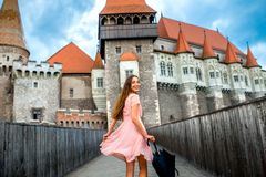Female tourist near the Corvin castle Royalty Free Stock Images