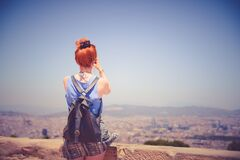 Female tourist at overlook Royalty Free Stock Photography