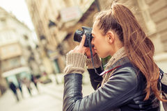 Female Tourist Photographer Royalty Free Stock Image