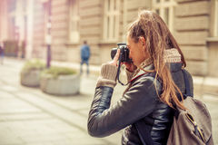 Female Tourist Photographer Stock Images