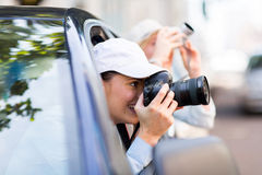Female tourist photographing Stock Photo