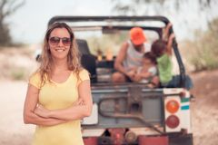Female tourist. Portrait of cheerful female tourist stock images