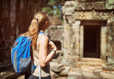 Female tourist in the Preah Khan temple in Angkor, Cambodia Stock Image