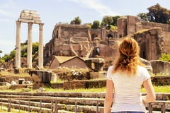 Female tourist on the ruins of the Roman Forum, Rome Royalty Free Stock Photo
