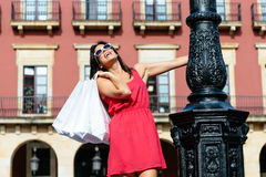 Female tourist shopping in spain Royalty Free Stock Photos