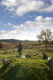Female tourist at a stone circle in county Donegal Stock Images
