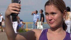 Female Tourist Taking A Selfie stock video