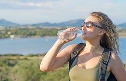 Female tourist tired. Royalty Free Stock Photo