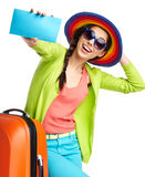 Female tourist with travel suitcase royalty free stock image