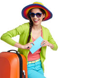 Female tourist with travel suitcase Stock Photography