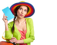 Female tourist with travel suitcase Stock Image