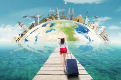 Female tourist travelling to the worldwide monument Stock Photography