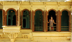 Female tourist at Udaipur Palace Royalty Free Stock Photo