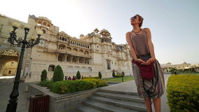 Female tourist at Udaipur Palace Stock Photography