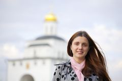 Female tourist in Vladimir. Female tourist against Golden Gate in Vladimir, Russia stock image