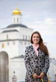 Female  tourist  in Vladimir Royalty Free Stock Photo