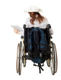 Female tourist on the wheelchair Royalty Free Stock Images