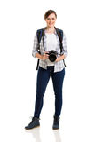 Female tourist white. Beautiful female tourist standing on white background royalty free stock images