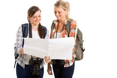 Female tourists map Stock Photos