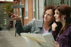 Female tourists orienteering stock image