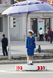 Female traffic police.DPRK. Beautiful female traffic police on the street in Pyongyang. but automobile are very few here Stock Image