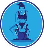 Female Trainer Lifting Kettleball Circle Retro Stock Images