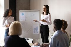 Free Female Trainers Talk Presenting Project On Whiteboard At Meeting Royalty Free Stock Photos - 179732628