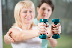 Female training with dumbbells Stock Photography
