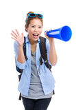 Female travel with megaphone. Isolated on white Royalty Free Stock Photos